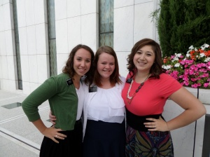 "Hermana Durham with Hermana Brialyn Hassett and her companion Hermana Galvez.  ""They are our bestest, bestest friends!"""