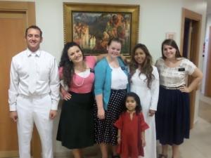 FIRST BAPTISM!!!  Nardi, Hermana Cozzolino, Hermana Durham, Heidi, Ariadne (her daughter) and Hermana Franchino